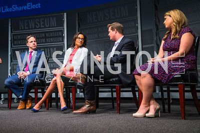 Jake Tapper, Nia-Malika Henderson, Chris Moody, Ashley Codianni. Photo by Alfredo Flores. CNN Politics Campaign 2016 Like Share, Elect. Newseum. April 18, 2016