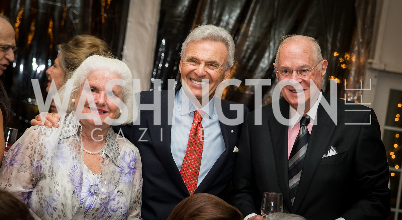 Mary Davis, Stuart Bernstein, Supreme Court Justice Anthony Kennedy. Photo by Erin Schaff. Cafritz Cocktails. The Home of Jane and Calvin Cafritz. September 10, 2016.