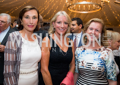 Amb. Maguy Maccario Doyle, Amb. Elizabeth Frawley Bagley, Amb. Anne Anderson.. Photo by Erin Schaff. Cafritz Cocktails. The Home of Jane and Calvin Cafritz. September 10, 2016.