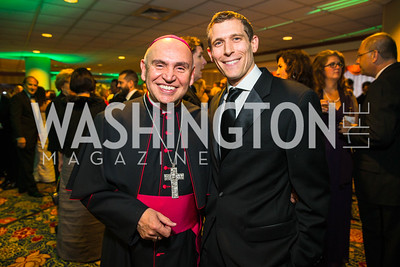 Bishop Mario Dorsonville, Erik Salmi. Photo by Alfredo Flores. Catholic Charities Gala 2016. Washington Marriott Wardman Park Hotel. April 30, 2016