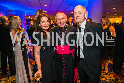 Anna Trone, Bishop Mario Dorsonville, , Robert Trone,. Photo by Alfredo Flores. Catholic Charities Gala 2016. Washington Marriott Wardman Park Hotel. April 30, 2016