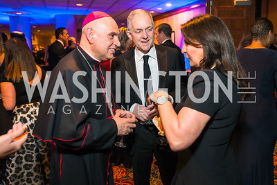 Bishop Mario Dorsonville, Robert Trone, Anna Trone. Photo by Alfredo Flores. Catholic Charities Gala 2016. Washington Marriott Wardman Park Hotel. April 30, 2016