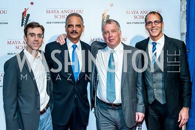 David Domenici, Former Attorney General Eric Holder, Reid Weingarten, James Forman. Photo by Tony Powell. Celebrate the Maya Way. Longview Gallery. December 9, 2015