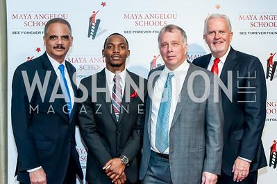Former Attorney General Eric Holder, Kenniel Cole, Reid Weingarten, Jack Davies. Photo by Tony Powell. Celebrate the Maya Way. Longview Gallery. December 9, 2015
