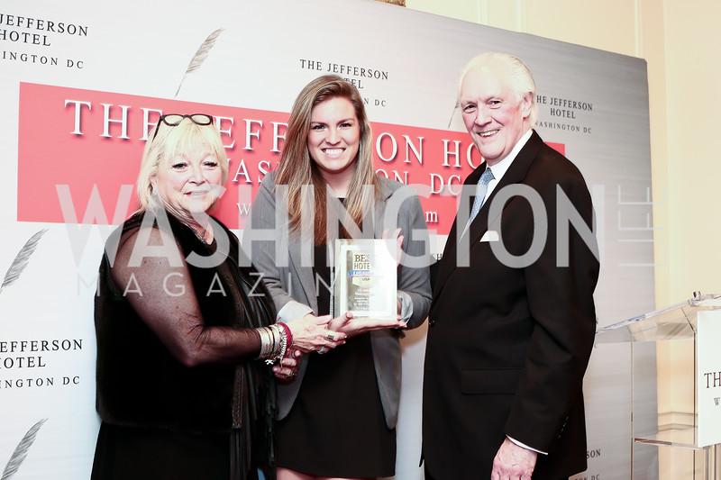 Connie Milstein, U.S. News & World Report Travel Editor Erin Shields, Jefferson Hotel Managing Director Philip Wood. Photo by Tony Powell. Celebrating The Jefferson. March 7, 2016