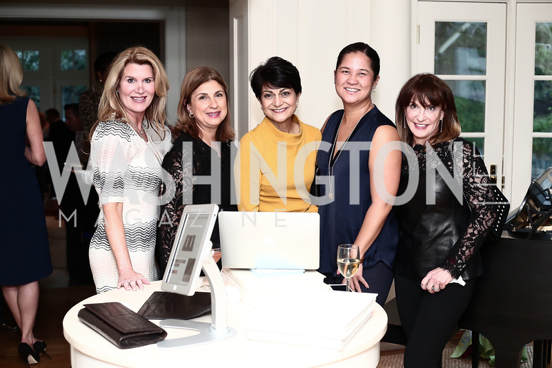 Norah Gourlay, Fariba Jahanbani, Shamim Jawad, Trish Yan, Debbie Shapiro. Photo © Tony Powell. Cocktails with 1 Atelier to Benefit Knock Out Abuse. March 29, 2016
