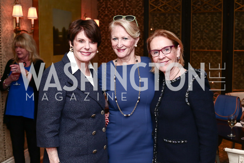 Marlene Malek, Maggie Shannon, Marcia Carlucci. Photo © Tony Powell. Cocktails with 1 Atelier to Benefit Knock Out Abuse. March 29, 2016