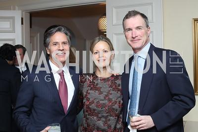 Tony Blinken, Virginia Shore, Tom Hardart. Photo by Tony Powell. The David Rubenstein Show Launch. December 13, 2016