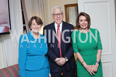 Sen. Amy Klobuchar, David Rubenstein, Leader Nancy Pelosi. Photo by Tony Powell. The David Rubenstein Show Launch. December 13, 2016