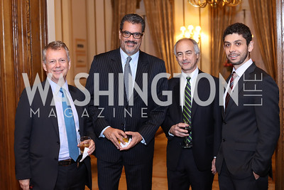 Ricardo Avila, Mauricio Vargas, Juan Carlos Iragorri, Edwin Giraldo. Photo by Tony Powell. Dinner for Rudy Giuliani. Residence of Colombia. December 7, 2016
