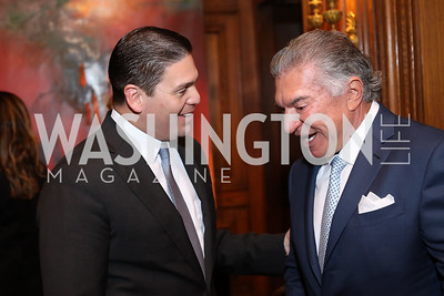 Colombia Amb. Juan Carlos Pinzon, Al Cardenas. Photo by Tony Powell. Dinner for Rudy Giuliani. Residence of Colombia. December 7, 2016