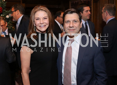 Susan Molinari, Eric Hatzimemos. Photo by Tony Powell. Dinner for Rudy Giuliani. Residence of Colombia. December 7, 2016