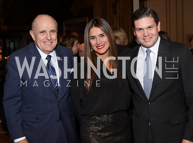 Rudy Giuliani, Pilar Pinzon, Colombia Amb. Juan Carlos Pinzon. Photo by Tony Powell. Dinner for Rudy Giuliani. Residence of Colombia. December 7, 2016