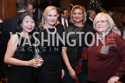 Nobuko Sasae, Susan Pillsbury, Ana Fajer, Linda Sonnenreich. Photo by Tony Powell. Dinner for Rudy Giuliani. Residence of Colombia. December 7, 2016