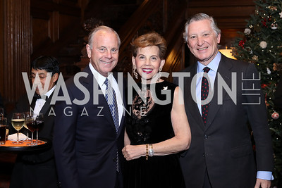 Mack McLarty, Adrienne Arsht, Peru Amb. Carlos Pareja. Photo by Tony Powell. Dinner for Rudy Giuliani. Residence of Colombia. December 7, 2016