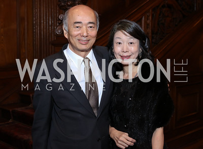 Japan Amb. Kenichiro Sasae and Nobuko Sasae. Photo by Tony Powell. Dinner for Rudy Giuliani. Residence of Colombia. December 7, 2016