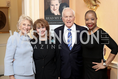 Jane Harman, Ann and Lloyd Hand, Myrna Farmer. Photo by Tony Powell. Diplomacy by Design. Blair House. October 21, 2016