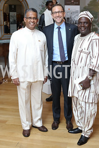 Sri Lanka Amb. Prasad Kariyawasam, Amb. Peter Selfridge, Burkina Faso Charge Seydou Sinka. Photo by Tony Powell. Diplomacy by Design. Blair House. October 21, 2016