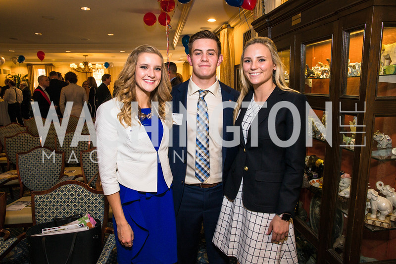Taylor Alderman, Caleb Richardson, Megan Shepheard. Photo by Alfredo Flores. Fifth Annual Memorial Day Kick-Off and Tribute to Veterans and Veterans with Congress. Capitol Hill Club. May 24, 2016