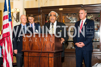 Rep. Mike Coffman, Daniel Lippman, Rep. Charles Rangel, Rep. Ryan Zinke. Photo by Alfredo Flores. Fifth Annual Memorial Day Kick-Off and Tribute to Veterans and Veterans with Congress. Capitol Hill Club. May 24, 2016