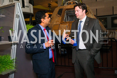 Mangesh Sannala, Alain Onellet. Photo by Alfredo Flores. Fifth Annual Symposium of The Carmel Institute — U.S., Russia and The International Space Station, Partners in Orbit. Smithsonian's National Air and Space Museum. April 19, 2016.