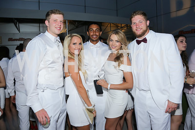 Redskin Nate Sudfeld, Jade Kenny, Redskin Maurice Harris, Taylor Konkele, Redskin Michael Cooper. Photo by Tony Powell. Fourth Annual All-White Clothing Charity Event. June 2, 2016