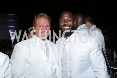 Former Redskin Joe Theismann, Redskin Pierre Garçon. Photo by Tony Powell. Fourth Annual All-White Clothing Charity Event. June 2, 2016