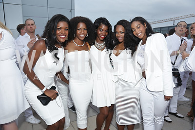 Tonee McCarden, London Myrick, Felicia Stevens, Chantelle Love, Latasha Casey. Photo by Tony Powell. Fourth Annual All-White Clothing Charity Event. June 2, 2016