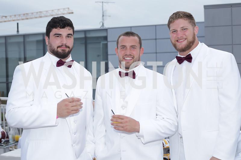 Redskins players Matt Ioannidis, Joe Kerridge, and Michael Cooper. Photo by Tony Powell. Fourth Annual All-White Clothing Charity Event. June 2, 2016