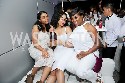 Aleka Ross, Saige Jackson, Chanelle Blackwell. Photo by Tony Powell. Fourth Annual All-White Clothing Charity Event. June 2, 2016