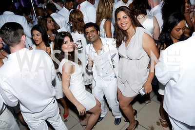 Samira Nikain, Prav Saraff, Mayra Foster. Photo by Tony Powell. Fourth Annual All-White Clothing Charity Event. June 2, 2016