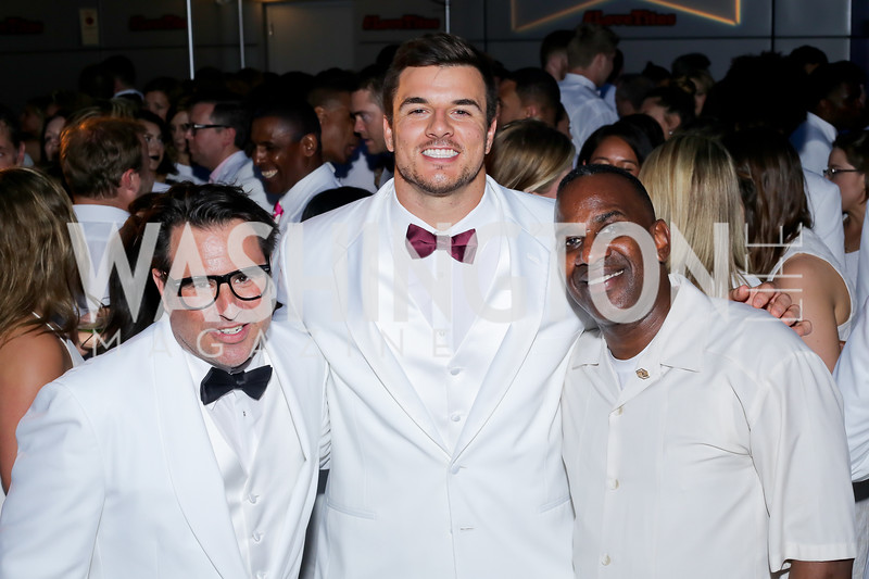 Josh Sagman, Redskin Ryan Kerrigan, BGCGW President and CEO Jim Almond. Photo by Tony Powell. Fourth Annual All-White Clothing Charity Event. June 2, 2016