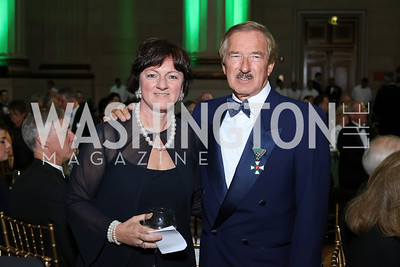Hungary Amb. Reka Szemerkenyi, Steven Udvar-Házy. Photo by Tony Powell. Gala to Celebrate the 60th Anniversary of the 1956 Hungarian Revolution. Mellon Auditorium. October 16, 2016