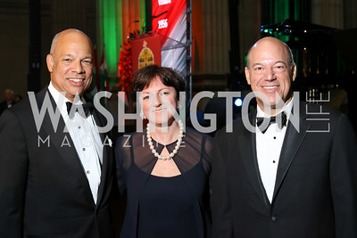 Sec. Jeh Johnson, Hungary Amb. Reka Szemerkenyi, Ari Fleischer. Photo by Tony Powell. Gala to Celebrate the 1956 Hungarian Revolution. Mellon Auditorium. October 16, 2016