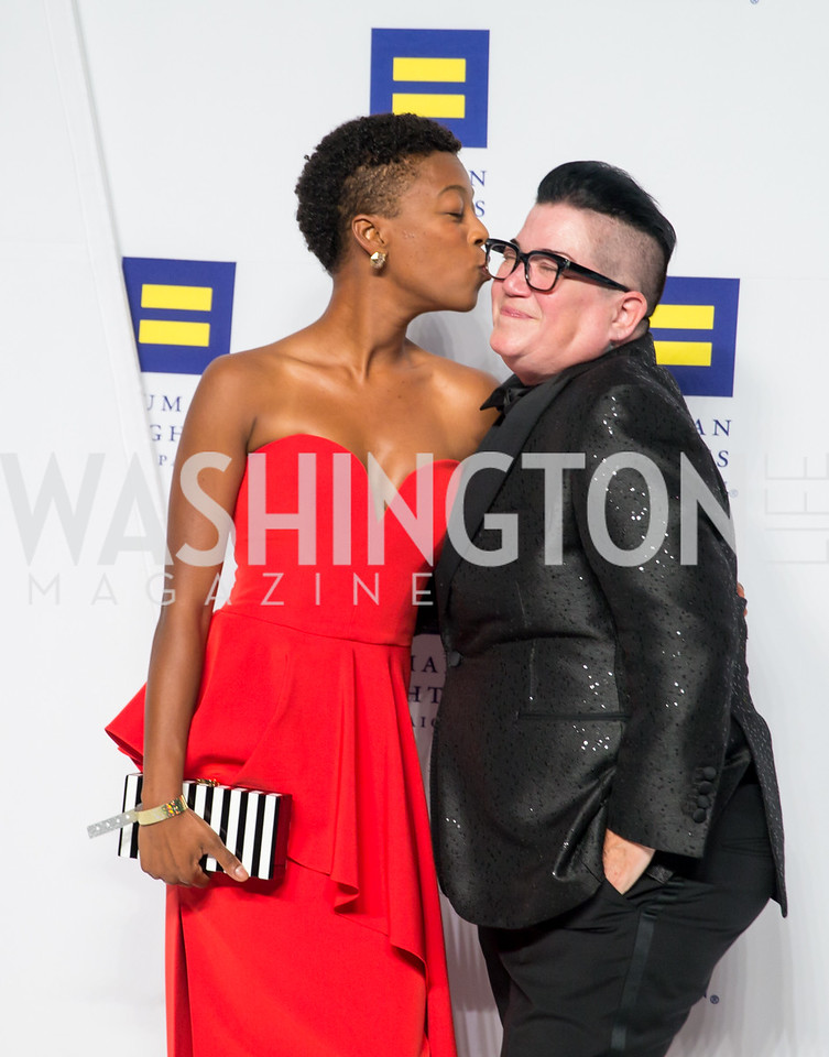 Orange is the New Black Actors Samira Wiley and Lea Delaria. Photo by Erin Schaff. HRC National Dinner 2016. Convention Center. September 10, 2016.
