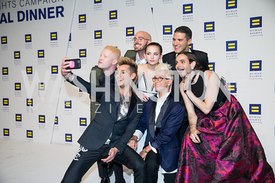 Shaun Ross, Frankie Grande, Michael Tatalovich, Alexis Gall, Stacey Griffith, Raymond Braun, Jacob Tobia. Photo by Erin Schaff. HRC National Dinner 2016. Convention Center. September 10, 2016.