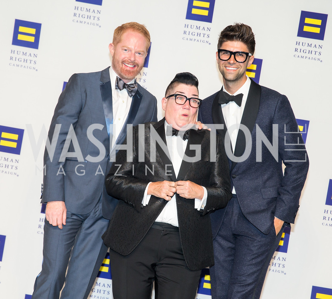 Jesse Tyler, Lea Delaria, Justin Mikita. Photo by Erin Schaff. HRC National Dinner 2016. Convention Center. September 10, 2016.