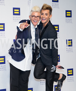 Stacey Griffith, Frankie Grande. Photo by Erin Schaff. HRC National Dinner 2016. Convention Center. September 10, 2016.