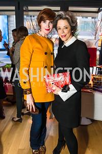 Stephanie Green, Heather Podesta. Photo by Alfredo Flores. Handbag event with Sophie Habsburg. Fig & Olive. April 6, 2016