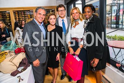 Jake Perry, Amanda Perry, Lyndon Boozer, Maria Trabocchi, Tonya Williams. Photo by Alfredo Flores. Handbag event with Sophie Habsburg. Fig & Olive. April 6, 2016