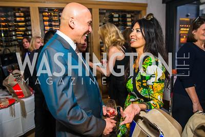Jim Igo, Christina Sevilla. Photo by Alfredo Flores. Handbag event with Sophie Habsburg. Fig & Olive. April 6, 2016