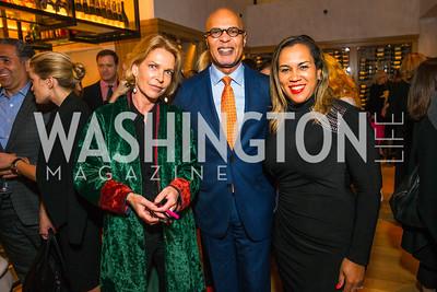 Princess Sophie Habsburg, Luis McSween, Monique McSween. Photo by Alfredo Flores. Handbag event with Sophie Habsburg. Fig & Olive. April 6, 2016