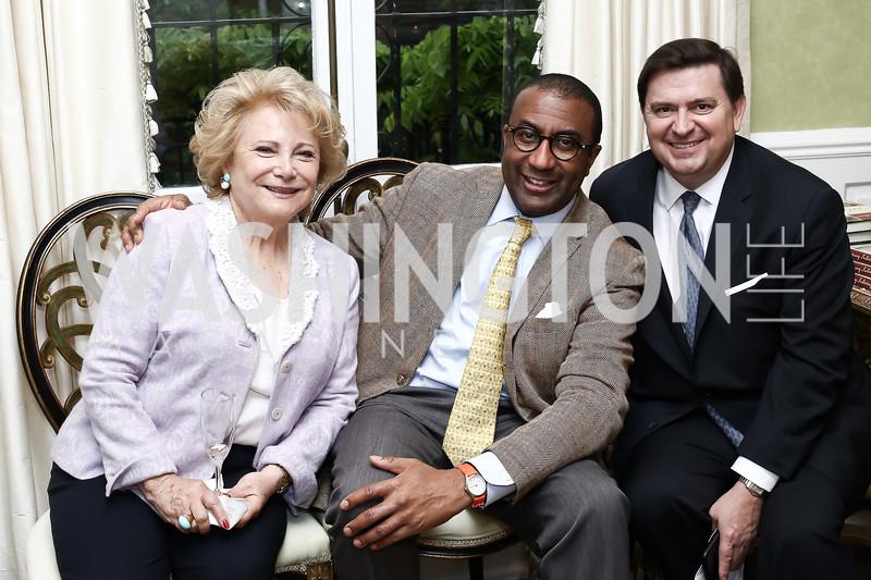 Mary Mochary, Eric Motley, Stewart McLaurin. Photo by Tony Powell. Hillie Mahoney Book Party. April 22, 2016