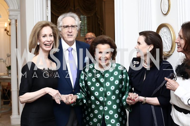 Bonnie McElveen-Hunter, Nash Schott, Hillie Mahoney, Alexandra de Borchgrave, Aniko Gaal Schott. Photo by Tony Powell. Hillie Mahoney Book Party. April 22, 2016