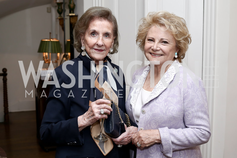 Wilhelmina Holladay, Mary Mochary. Photo by Tony Powell. Hillie Mahoney Book Party. April 22, 2016