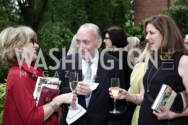Jackie Pletcher, Charles Eisen, Gwendolyn Van Paasschen. Photo by Tony Powell. Hillie Mahoney Book Party. April 22, 2016