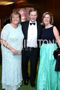 Fionnuala O'Kelly, Ireland Prime Minister Enda Kenny, Ireland Amb. Anne Anderson. Photo by Tony Powell. IRELAND 100 Opening Performance & Dinner. Kennedy Center. May 17, 2016