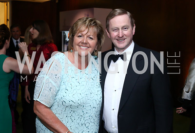 Fionnuala O'Kelly, Ireland Prime Minister Enda Kenny. Photo by Tony Powell. IRELAND 100 Opening Performance & Dinner. Kennedy Center. May 17, 2016
