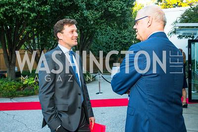 Ambassador Lars Gert Lose, Kevin Chaffee. Photo by Alfredo Flores. Innovating Through Business Partnerships 2016 reception. Embassy of Denmark. September 27, 2016