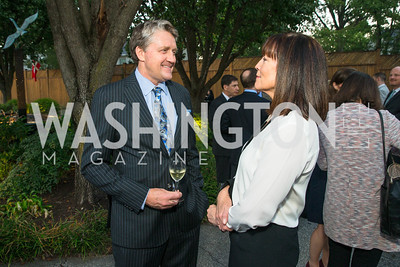 Michael Mawby, Noella Driscoll. Photo by Alfredo Flores. Innovating Through Business Partnerships 2016 reception. Embassy of Denmark. September 27, 2016